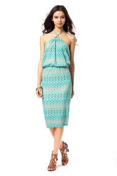 Летнее платье с подкладом и лямочками через шею Vilatte