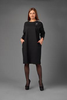 Черное свободное платье Трикотажница